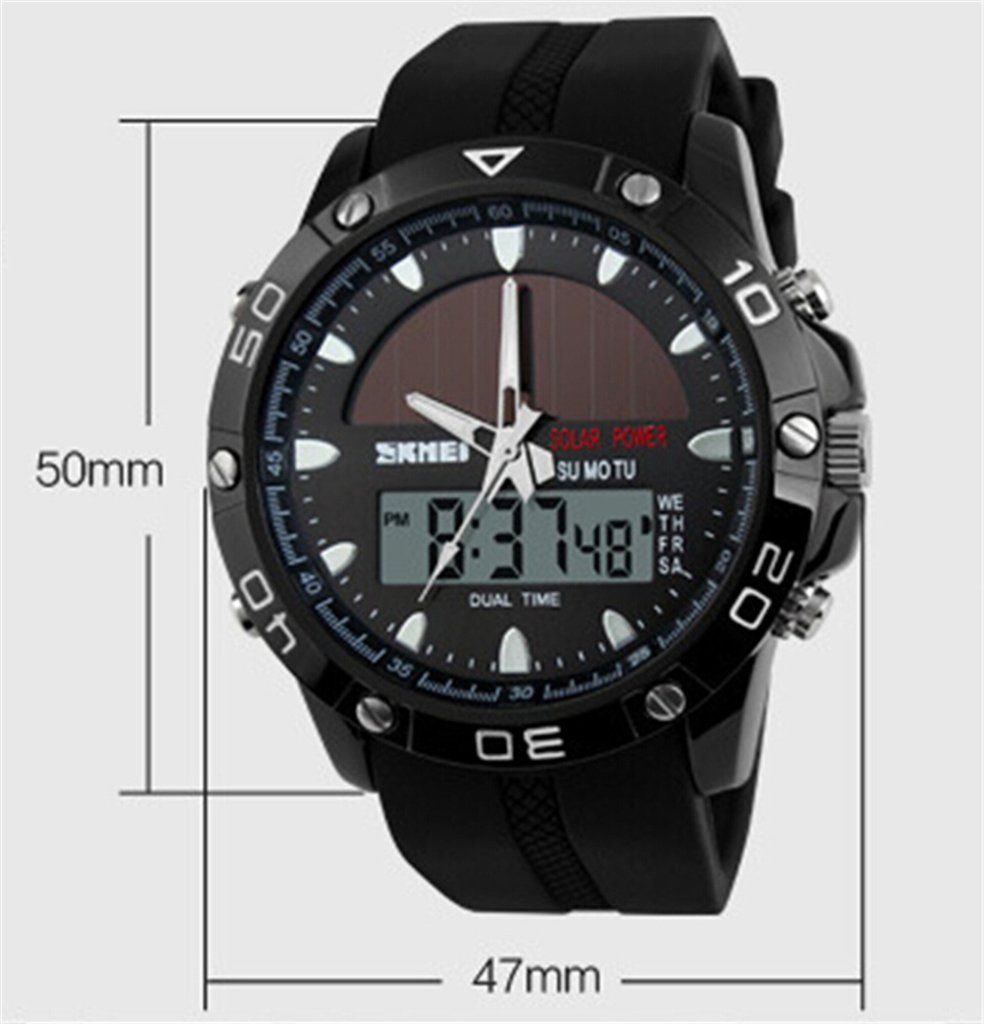 Auspicious beginning Multifunction digital LED solar & electronic powered sport watches, black