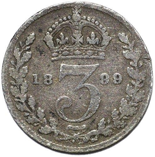 "1899 UK Queen Victoria British Silver ""Widow Head"" Threepence Good"