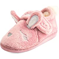 Festooning Toddler Girls' Long Ears Bunny Slipper Cozy Soft Warm Plush Home Non-Slip Shoes