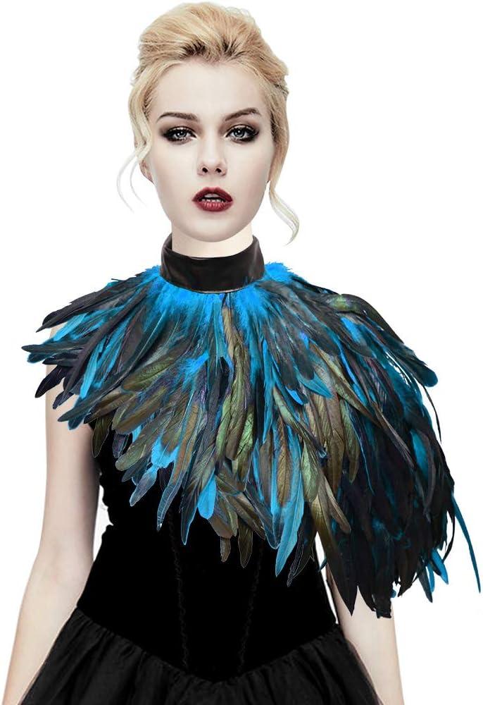 sigando Disfraz de cuervo de plumas naturales gótico Disfraz de ...