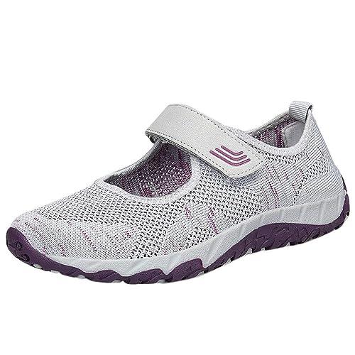 Tefamore Mujer Zapatillas de Respirable Deportivo de Malla Tejida para Mujer Primavera y Verano 2019 Moda Cómodos Zapatos Señora Casual Calzado con Velcro ...