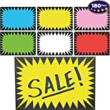 Retail Genius Price Burst 180 Sign Pack. Boost Sales with Bright Display Tags. Durable, Easy to Write On Star Cards Are Great for Yard, Estate & Garage Sale, Fundraiser, Store, Business & Flea Market