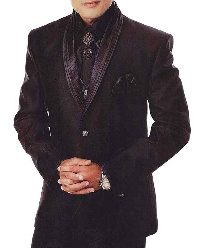 INMONARCH Mens 7 Pc Black Tuxedo Suit Wonderful TX913