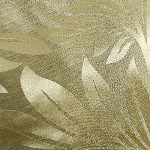 CaliTime Pack of 2 Throw Pillow Covers Cases for Couch Sofa Home Decor, Tropical Fern Leaf, 18 X 18 Inches, Gold