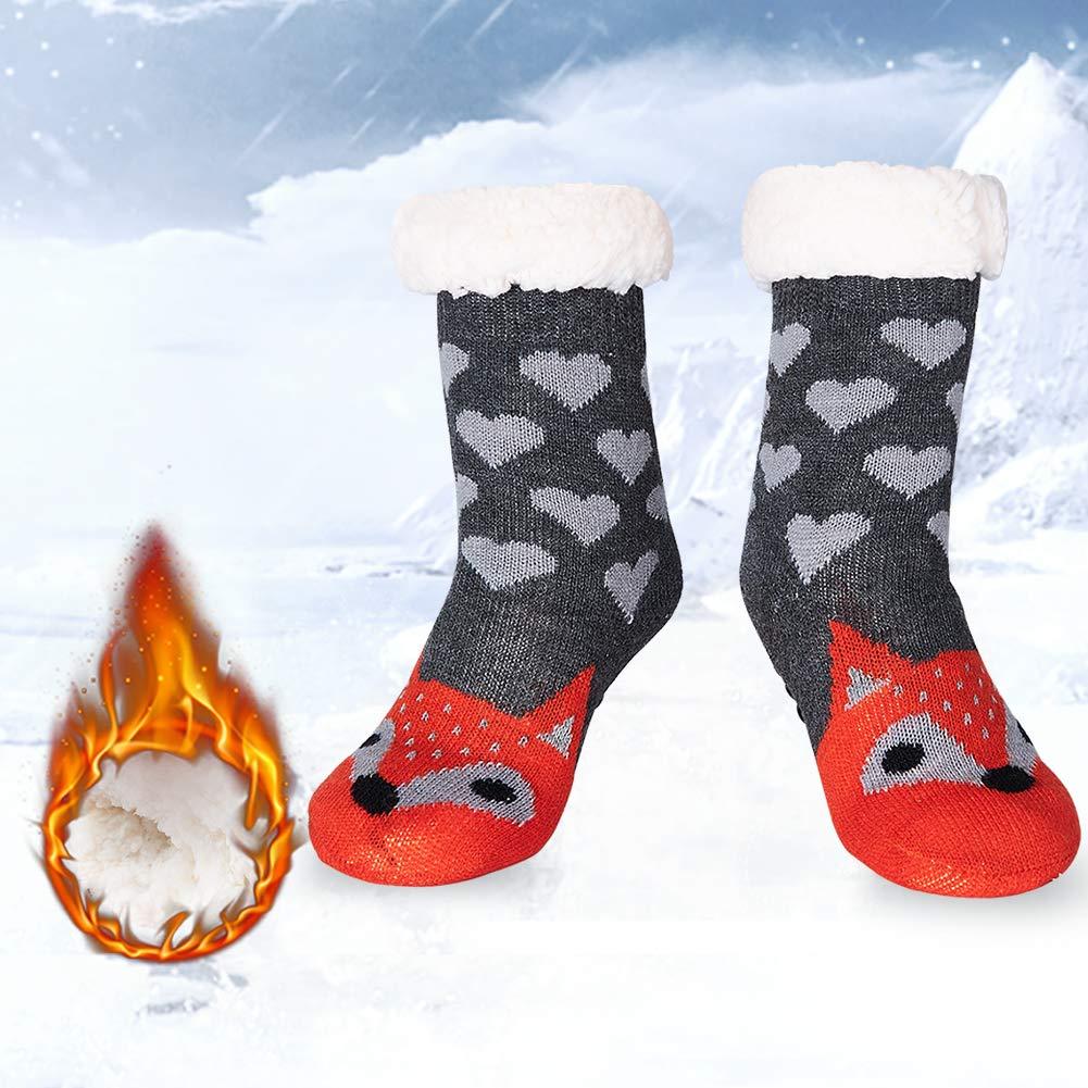 RAISEVERN Girls 3D Animal Printed Fluffy Slipper Socks Cute House Anti Slip Lounge Socks Gray Heart Orange Fox Boys Christmas Holiday Festive Crazy Cozy Warmth Kniting Hosiery With Sherpa Lining