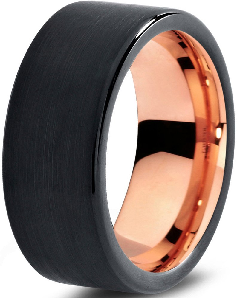 Tungsten Wedding Band Ring 9mm for Men Women Black & 18K Rose Gold Plated Pipe Cut Brushed Polished