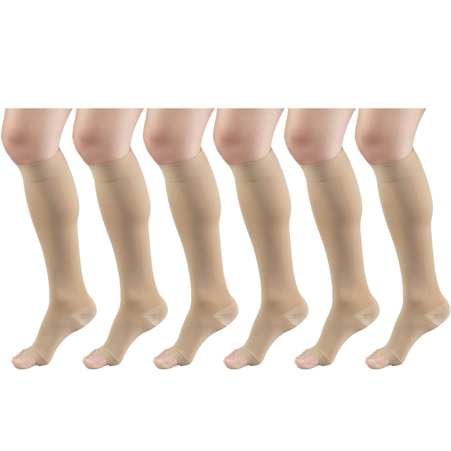 Short Length Surgical Stockings, 18 mmHg Compression for Men and Women, Reduced Length, Open Toe Beige Large (6 Pairs)