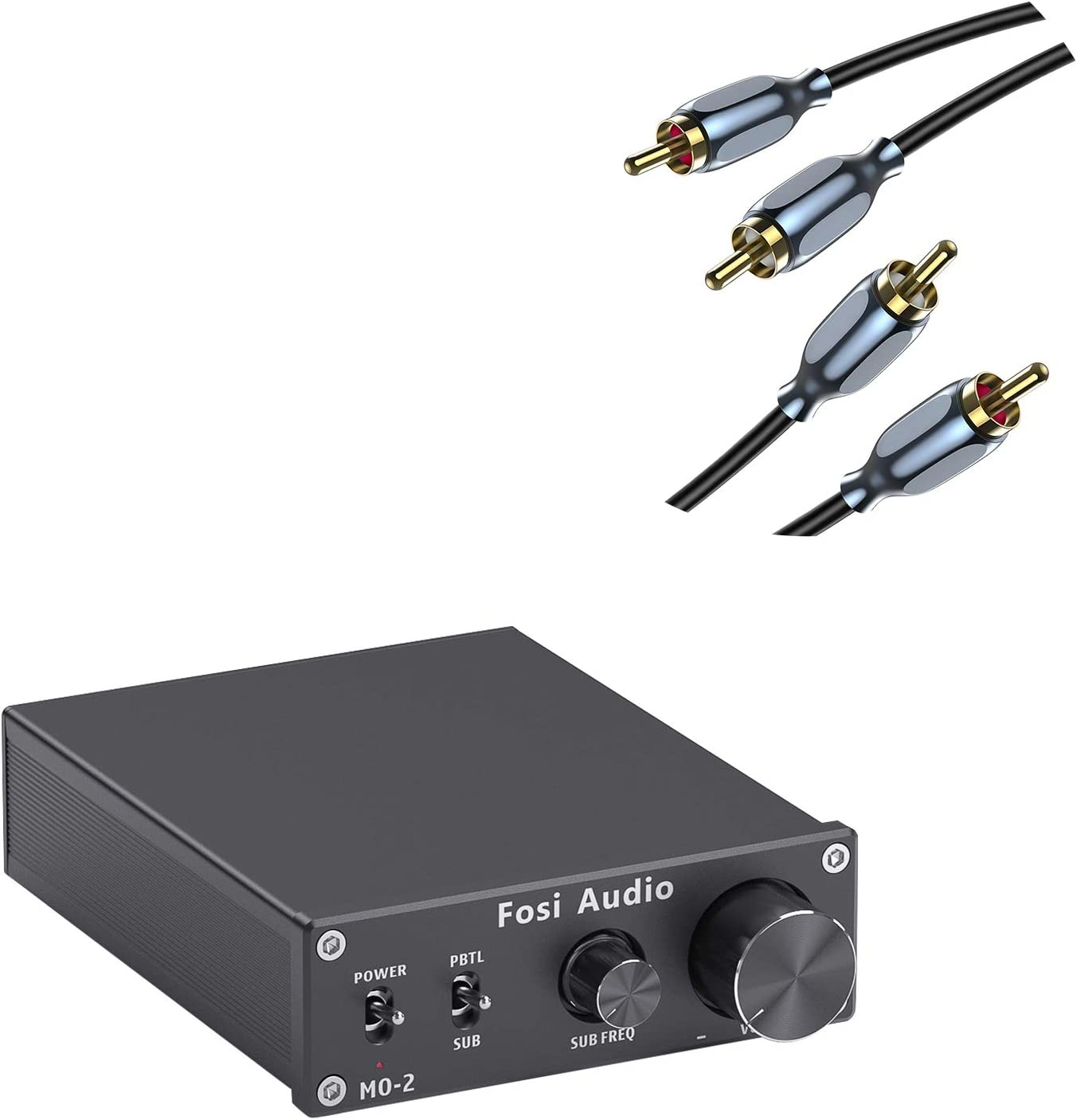 Fosi Audio M02 Subwoofer Amplifier Mono Channel Home Theater Power Amp 100W and [5.9ft/1.8m] RCA-RCA HiFi Audio Cable