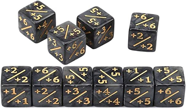73JohnPol 10x Contadores de Dados 5 Positivo + 1 / + 1 & 5 Negativo -1 / -1 para el Juego de Mesa Magic The Gathering Divertidos Dados (Color: Negro): Amazon.es: Juguetes y juegos
