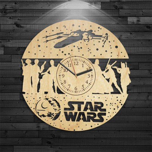 Kovides Star Wars Clock, Leia Organa Wooden Clock, Star Wars Gift for Kids, Star Wars Wood Clock, Wall Clock Modern, Wall Clock Vintage, Star Wars Gift for Boy, Birthday Gift, Luke Skywalker Clock