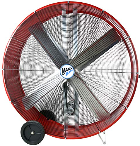 Maxx Air BF48 High Velocity Industrial Belt Drive Barrel Fan. Heavy Duty Rolled Steel Housing, 18,000 CFM (48 Inch Barrel Fan) - Galvanized Belt Drive Fan