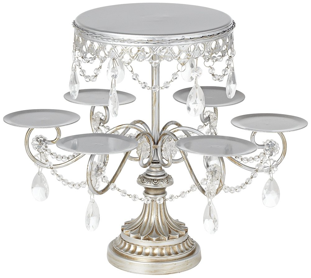 Antique Silver and Crystal Cake and Cupcake Stand: Amazon.co.uk ...