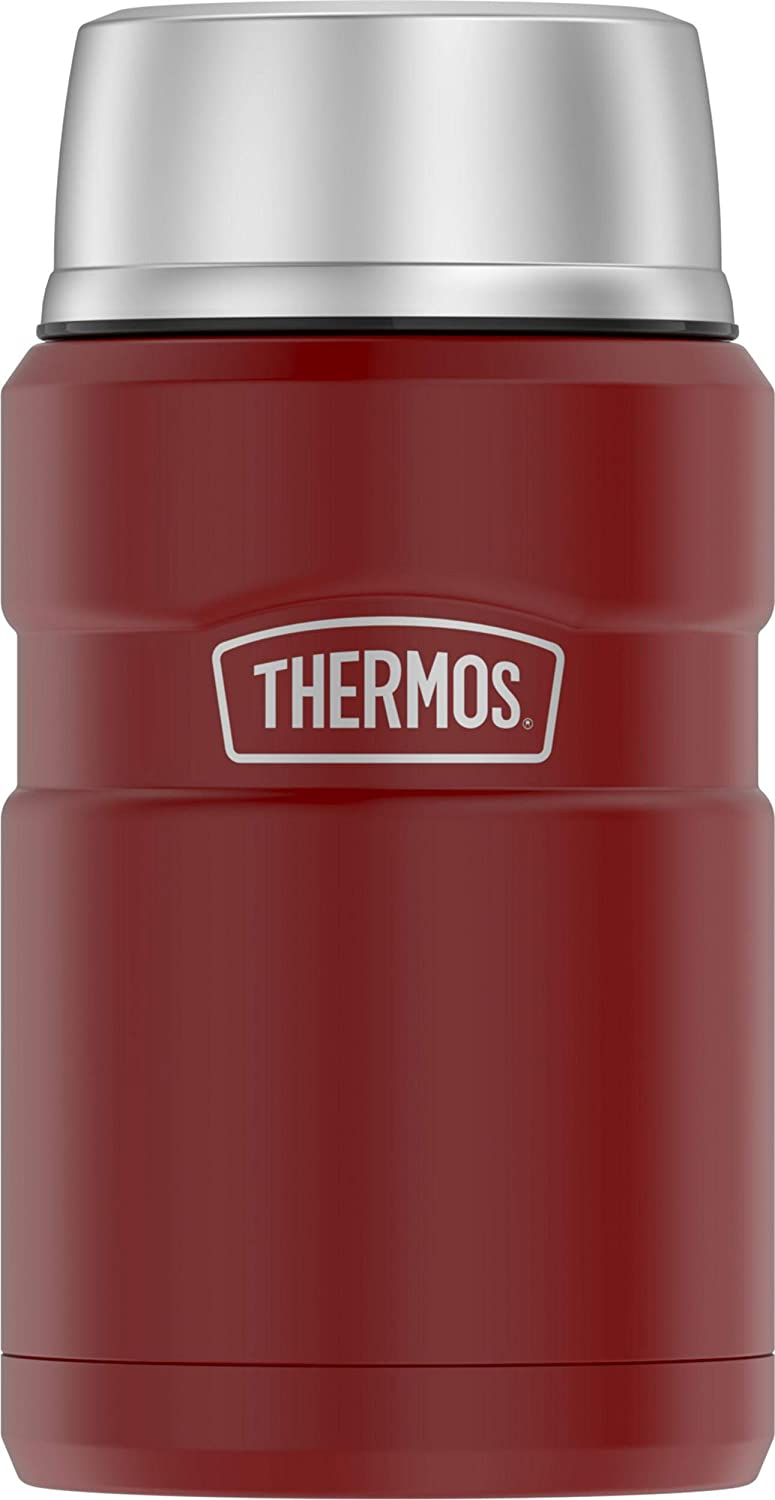 Thermos SK3020MR4 Vacuum-Insulated Food Jar with Spoon, 24 Ounce, Matte Red