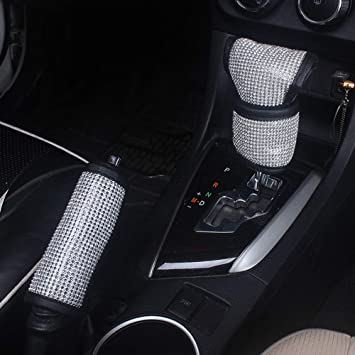 QINU 2 Pcs 1 Set Bling Bling Auto Shift Gear Cover /& Handbrake Cover Luster Crystal Car Decor Accessories for Ladies Girls