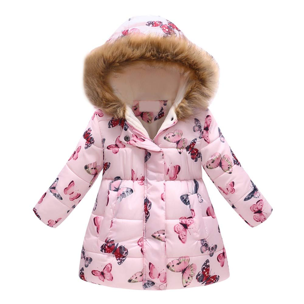 Toddler Baby Girls Boys Winter Warm Jacket Hooded Windproof Coat Kids Floral Butterfly Overcoat Outwear 2-7 Years