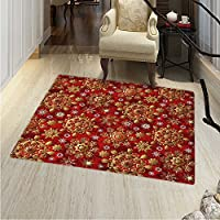 Red Mandala Floor Mat Pattern Christmas New Year Ornaments Inspired Ethnic Tribal Floral Design Living Dinning Room & Bedroom Rugs 5x6 Vermilion Gold White