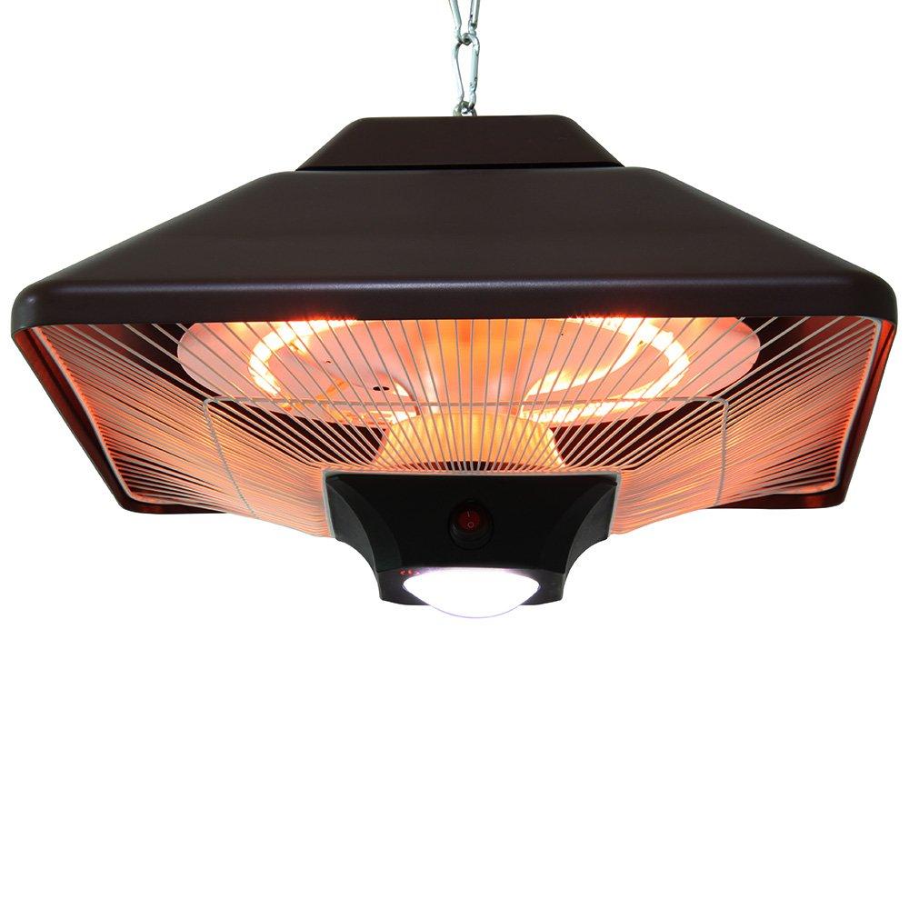 Suspension chauffante d'extérieur Noir type halogène avec lampe LED et télécommande - 2000W interougehome