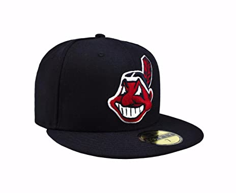 f5da07fb40c Amazon.com  New Era 59Fifty Men s Cleveland Indians Navy Blue MLB Baseball  Fitted Cap (7 1 2)  Clothing