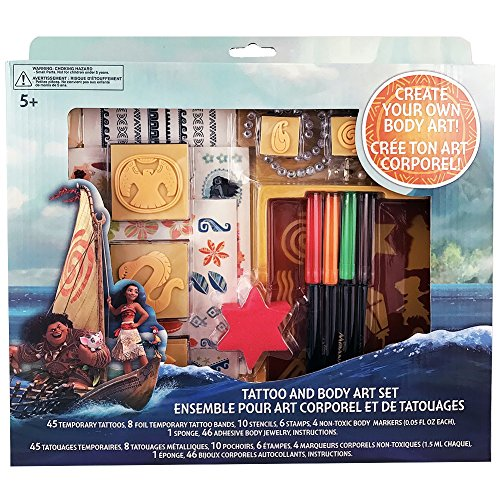 Disney Moana Tattoo and Body Art Set - Moana Halloween Costume Accessory - Moana Costume Accessory for Kids