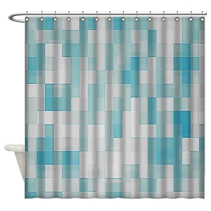 Amazon.com: White And Blue Mosaic Shower Curtain 60X72 Inch: Home ...