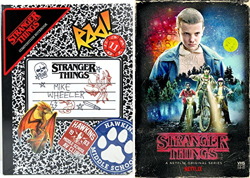 Stranger Things Exclusive Set + Hardcover Composition Notebook DVD & Blu Ray VHS Box Season 1