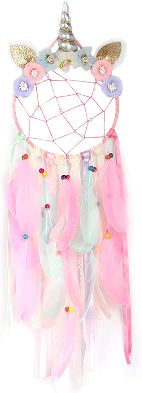 PGYFIS Dream Catcher Unicorn Indian Feather Lace Decoration Creative Home Furnishing Wall Decoration Girl Heart Pendant Blessing Gift (Colorful)
