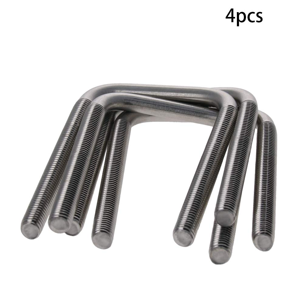 MroMax 4Pcs Square U-Bolts M6 Thread 31mm Inner Width 304 Stainless Steel with Nuts Frame Straps Silver Tone
