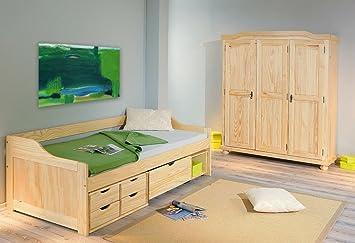 Jugendzimmermöbel Bett 90x200 Und Schrank Holz Coroga Amazonde