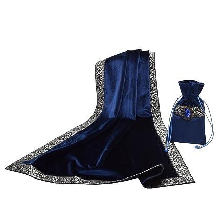 BLESSUME Altar Tarot Gamuza de Mesa con Una (azul oscuro)