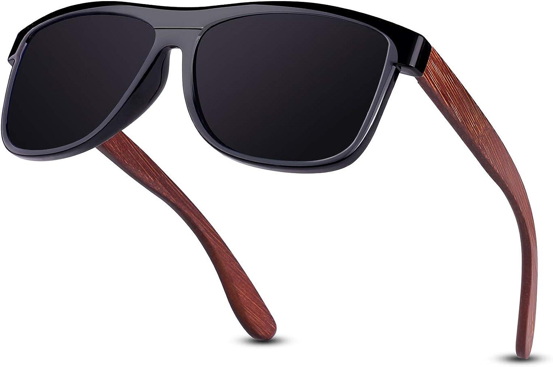 GQUEEN Gafas de sol Polarizadas Rectangulares Clásicas de Madera Para Hombres y Mujeres con Protección UV MOS07: Amazon.es: Ropa y accesorios