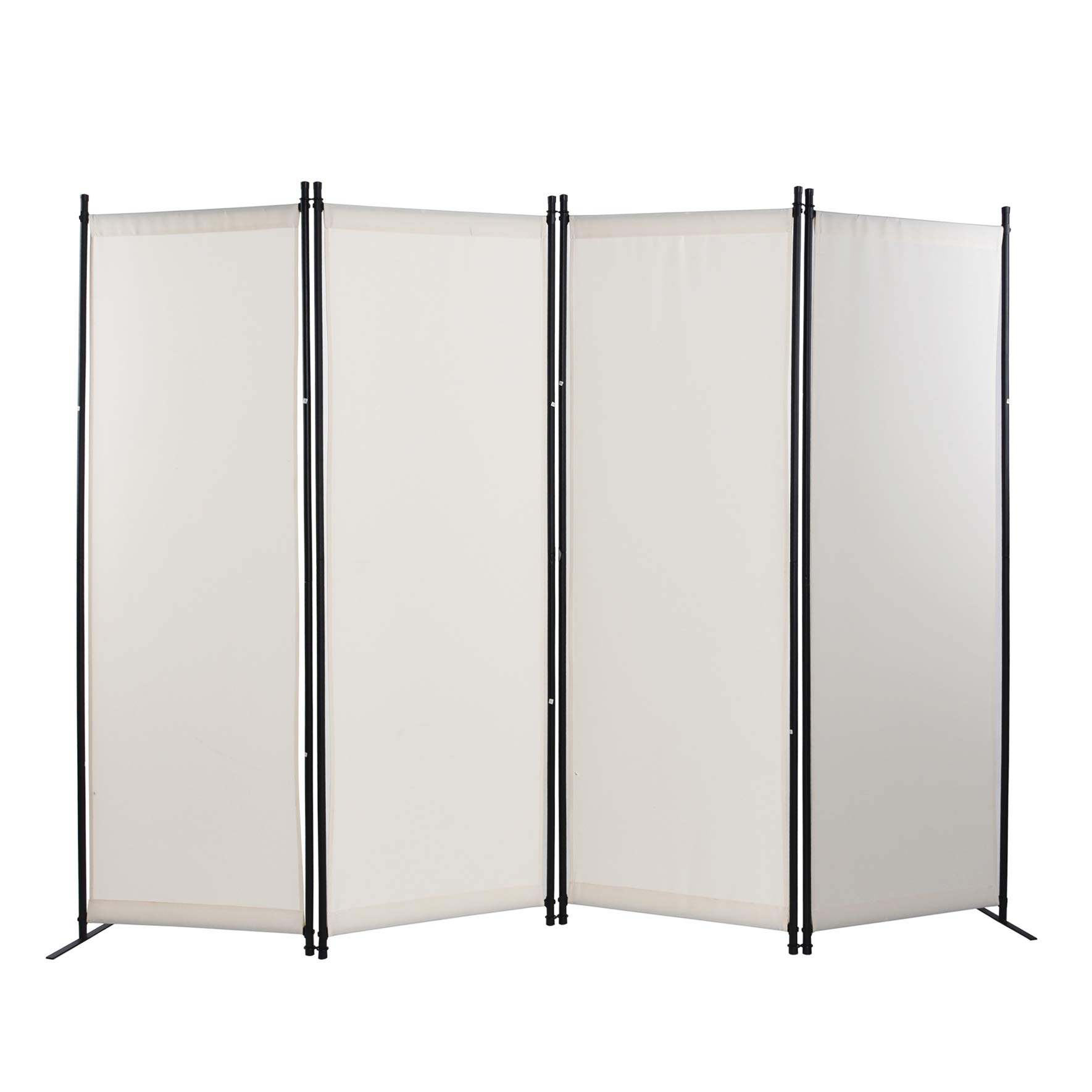 Goodgojo 4 Panel Room Divider Screens Home Office Steel Frame Fabric Surface (White) by Goodgojo