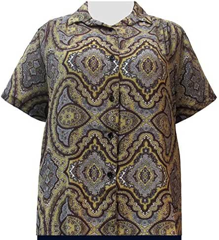 A Personal Touch Gold Mandala 3/4 Sleeve Women's Plus Size Blouse