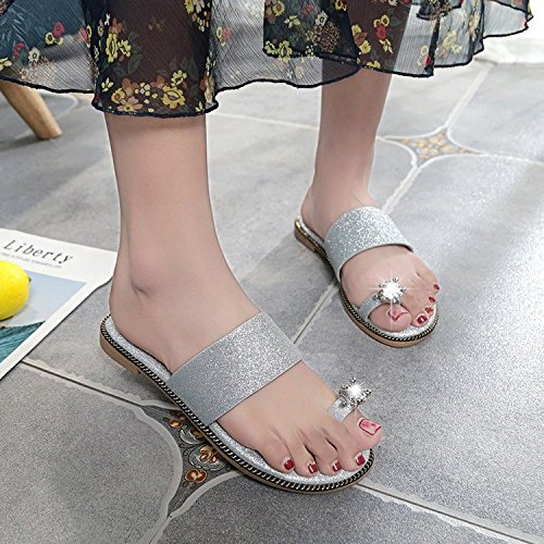 Slippers women Wear slippers Bottom Wild Black Flat Comfortable WHLShoes Sandals Summer Rhinestone And Toe Casual XSZwx1q