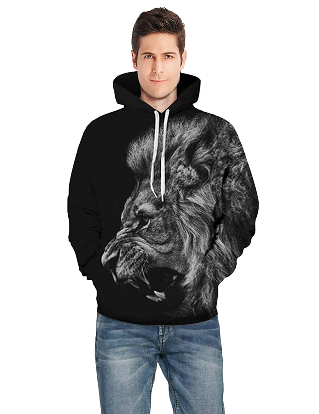 uideazone Unisex Novelty Hoodies 3D Graphic Print Sweatshirts Casual Pullovers with Pockets