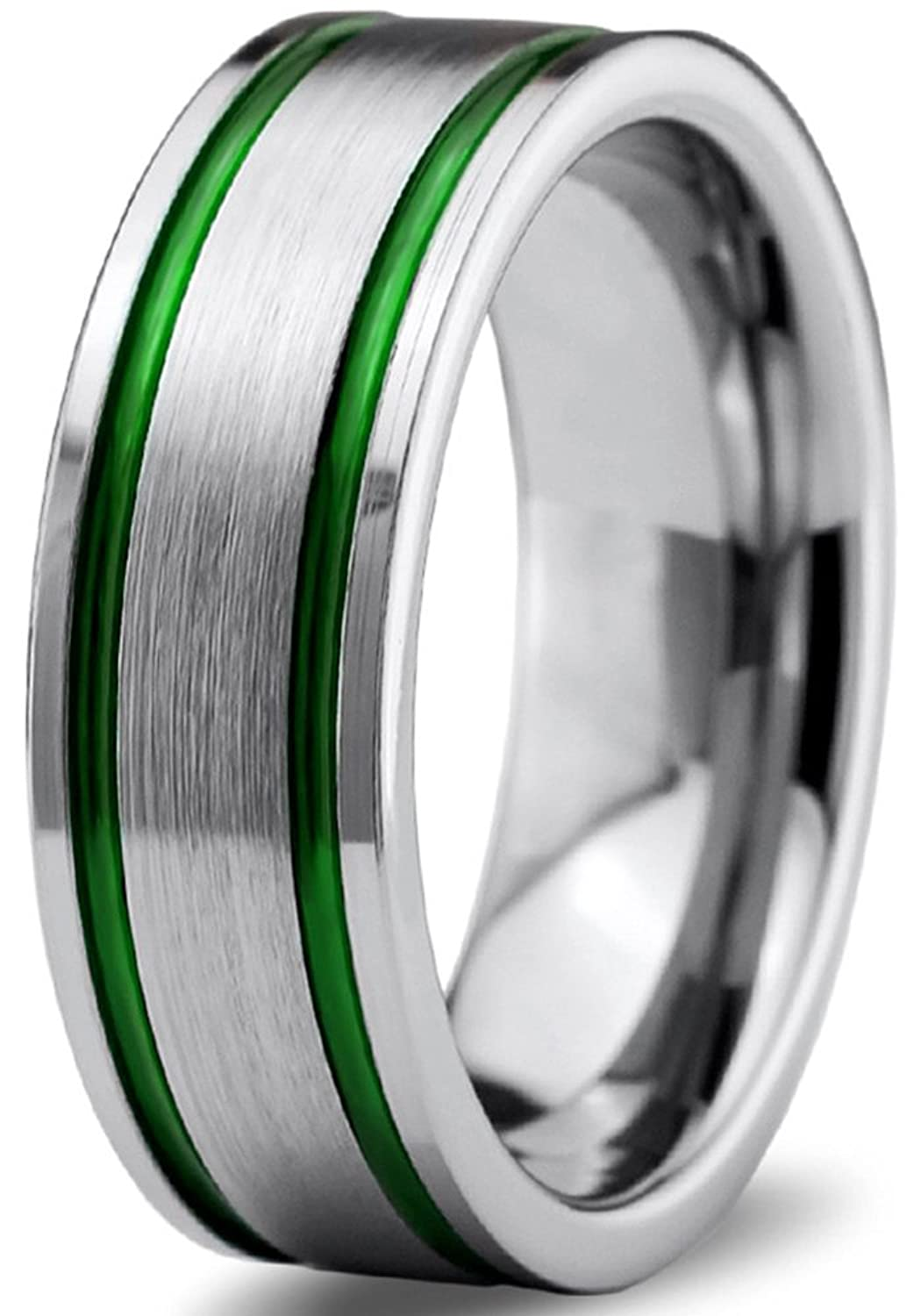 Tungsten Wedding Band Ring 8mm for Men Women Green Grey Flat Pipe Cut Brushed Polished