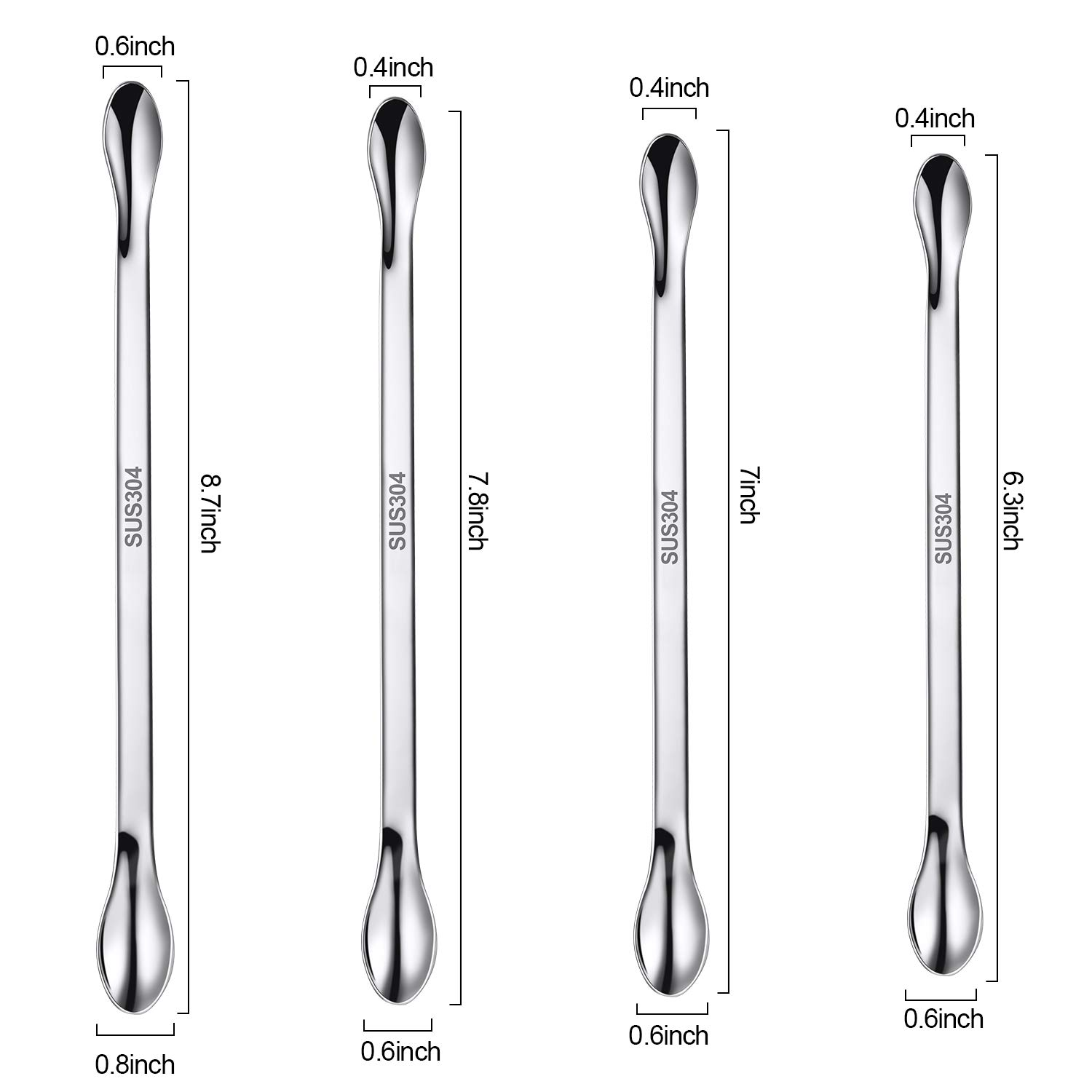 22 Pieces Stainless Steel Lab Spatula Micro Scoop Set Laboratory Sampling Spoon Mixing Spatula for Powders Gel Cap Filler