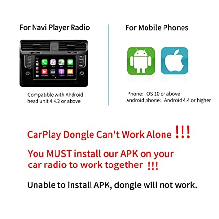 Carlinkit Wired Carplay Dongle Android Auto Receiver Only for Android Head Unit Android Car Audio Support iOS13 Split Screen, Plug and Play Mini USB Carplay Adapter Car Stereo, Black