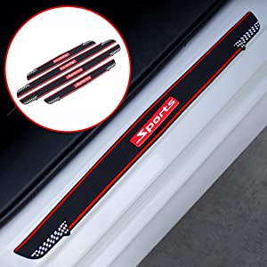 ZaCoo Car Door Sill Protectors Door Sill Scuff Plate Guard Universal PVC Soft Rubber Material 3D Sports Style Door Entry Trim Strip