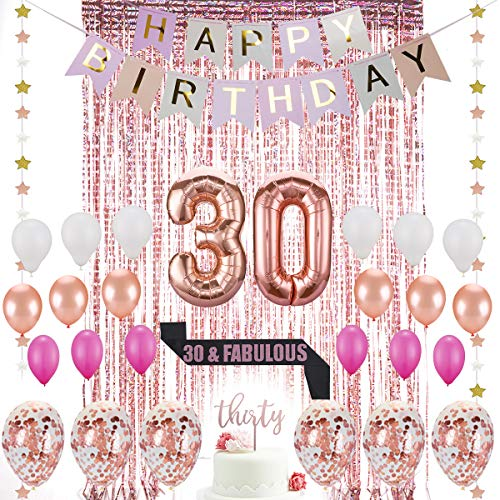 30th Birthday Decorations|30 Birthday Party Supplies|30 Cake Topper Rose Gold |30 & Fabulous Glitter Satin Sash|Rose Gold Confetti Balloons for her| Foil Fringe Curtains for Women 30th Birthday Party