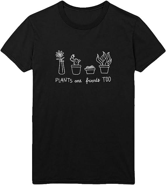 MYMERCHANDISE Plants Cactus Flowers Friends T-Shirt Camiseta Shirt para Hombre Hombres Camisa Negra Men Mens Tshirt 100% Algodón Regalo De Cumpleaños Navidad Mujer XL Men Black Men Shirt: Amazon.es: Ropa y accesorios