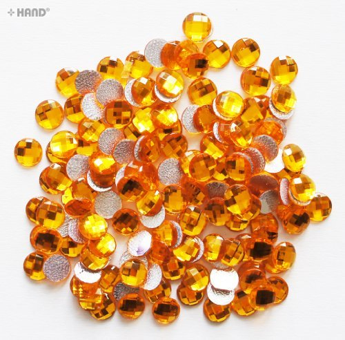 Round Hotfix - Iron On Rhinstone Diamante Gems 10mm, a Pack of Appx 400 (D15 Yellow - appx 61.5g) (Stone D15)