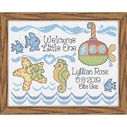 Herrschners® Seaside Friends Birth Record Stamped Cross-Stitch Kit