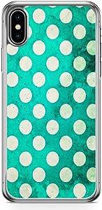 جراب هاتف لاود يونيفيرس يناسب iPhone XS Green Polka Phone Case أنيق شفاف الحواف لهاتف iPhone XS