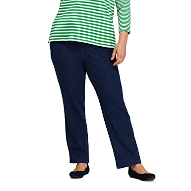 fad1b4adaa61a Lands  End Women s Plus Size Sport Knit Elastic Waist Pants High Rise Denim