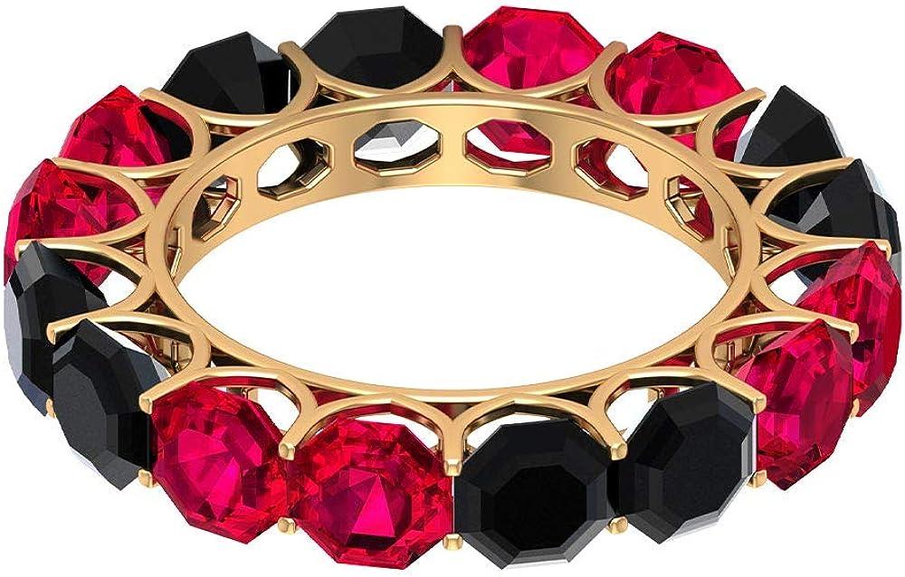Anillo de boda delicado para novia, 5,2 quilates, con relleno de cristal de rubí, 4,8 quilates, 5 mm, anillo de eternidad de espinela negra, 18K Oro