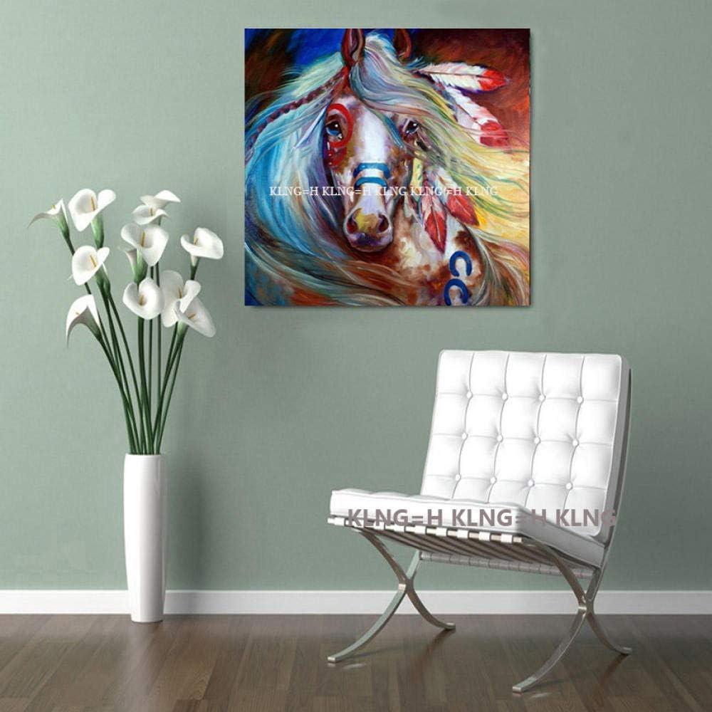 mmzki Pintura al óleo de la película Pintada Hermoso Caballo Azul sobre Lienzo Cuadros Abstractos Modernos Pinturas al óleo de Animales para la decoración del hogar Arte de la pared-60x60CM_KingH1