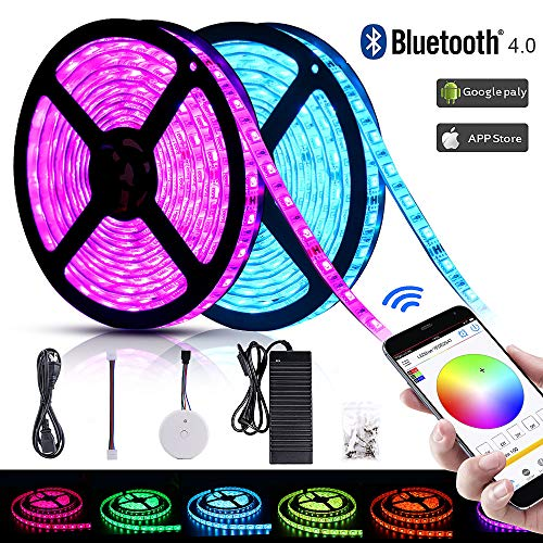 Solarphy 32.8ft (10m) RGB LED Strip Lights Bluetooth Smartphone App Controlled 5050 LED Light Strip 600 LEDS Waterproof RGB Multicolored LED Lights Kit with 24V 5A Power Supply For iPhone Android