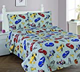 Elegant Home Multicolor Grey Red Blue Yellow Racing Cars Design 4 Piece Printed Full Sheet Set with Pillowcases Flat Fitted Sheet for Boys / Kids/ Teens # Race Car (Full)