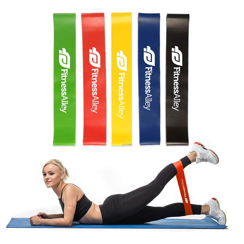 Fitness Alley Resistance Bands, Loop Exercise Bands with Carry Bag, Workout Flexbands for Home Fitness, Yoga, Pilates…
