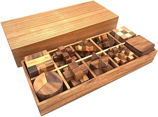 RATREE SHOP Handmade Puzzle Sets 12 Wooden Game Gift Set Handmade Wooden Puzzles for Adults Twelve Brain Teasers with The Puzzle Showcase
